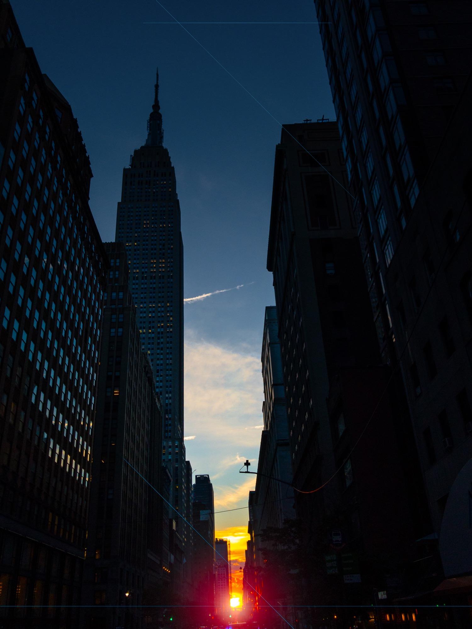 Photo of Manhattanhenge adjacent the Empire State Building.