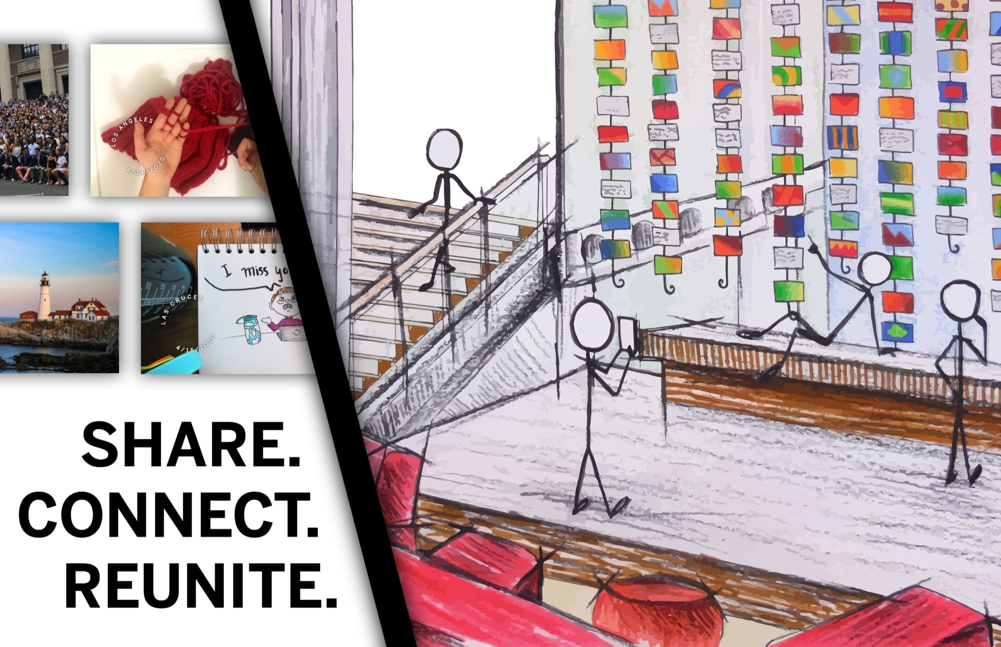 Drawing of postcard exhibit, virtual postcards, and words Share. Connect. Reunite.